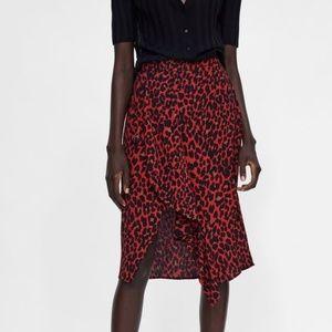 ZARA Red Leopard Print Skirt
